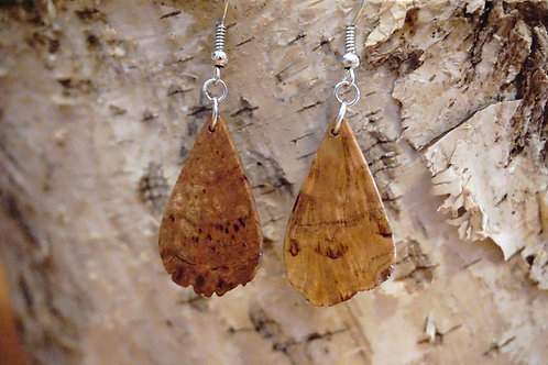 Teardrop Cherry Burl Earrings