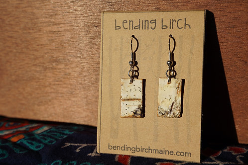 Small Speckled White Birch Earrings