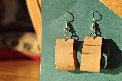 Small Hoop Birch Bark Earrings
