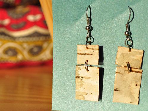 Long Dual Rectangles Birch Bark Earrings