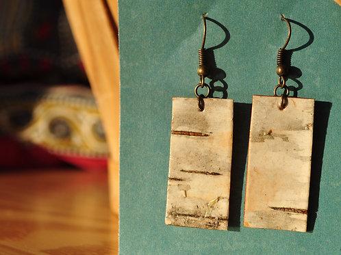 Rectangular Birch Bark Earrings