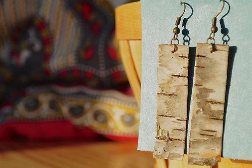 Long Rectangular Birch Bark Earrings