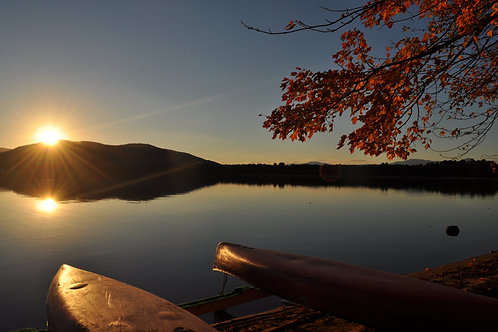 Sunset and Canoes Canvas Photo