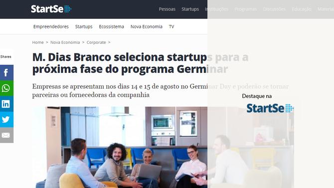 M. Dias Branco seleciona startups para a próxima fase do programa Germinar