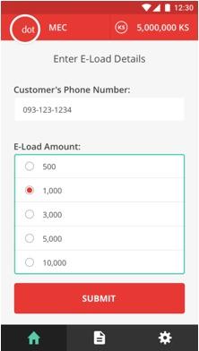 E-load-amount selection screen
