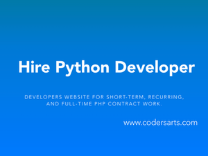 Hire Python Developers on Codersarts — the leading developers website for short-term, recurring, and full-time Python contract work.