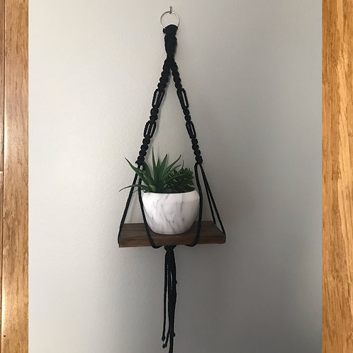 Black Macrame with Shelf