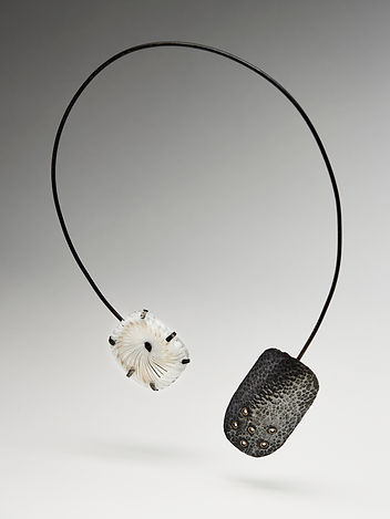 Oxidised Sterling silver necklace with woven glass by Nicky Lawrence and Layne Rowe