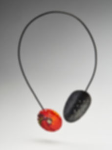 Oxidised Sterling silver and woven glass necklace by Nicky Lawrence and Layne Rowe