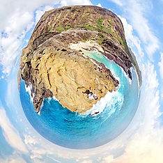 Tiny Planet of famous beach in hawaii