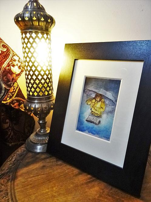 """Cadre carte aquarelle """"Sous le parapluie"""" A6"""