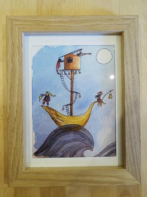 """Cadre carte aquarelle """"Les voyageuses"""" A5"""