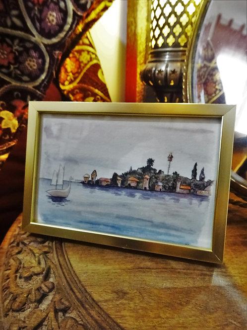 """Cadre carte aquarelle """"Retour au port"""" A6"""