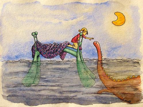 Reproduction aquarelle - Un monstre sous le lit
