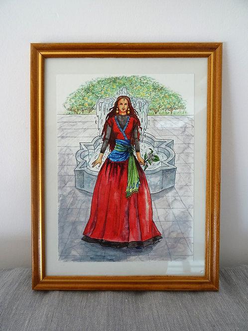 "Cadre carte aquarelle ""La princesse à l'oranger"" A5"