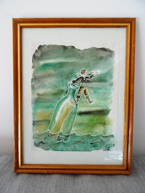 """Cadre carte aquarelle """"Une bouteille à la mer"""" A5"""