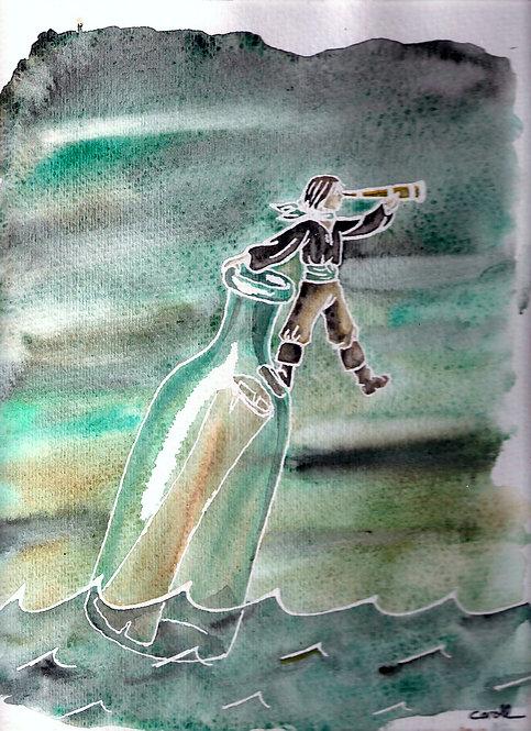 Reproduction aquarelle - Une bouteille à la mer