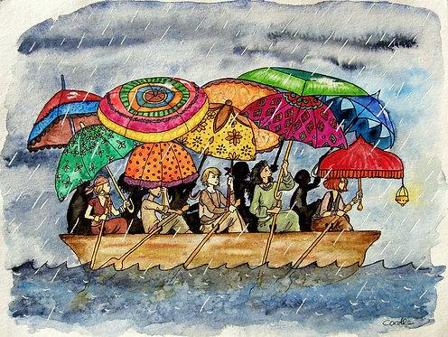 Reproduction aquarelle - Les parapluies