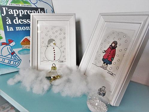Duo d'aquarelles originales encadrées - Sous la neige 1
