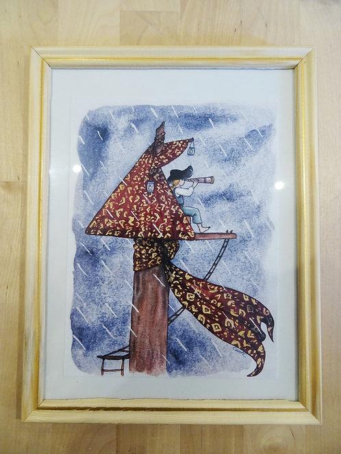 """Cadre carte aquarelle """"Dans le nid-de-pie"""" A5"""