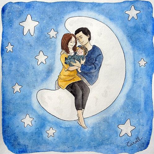 Carte de naissance aquarelle - Douce lune