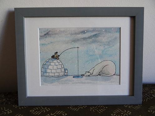 """Cadre carte aquarelle """"Le pêcheur et l'ours"""" A5"""