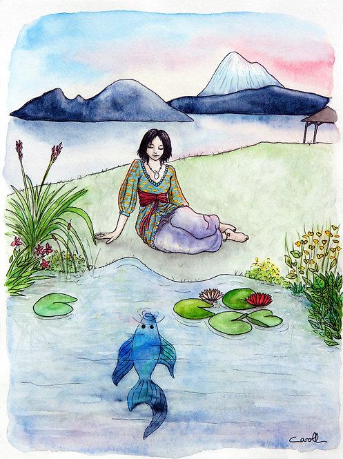 Reproduction aquarelle - Le poisson dans le lac