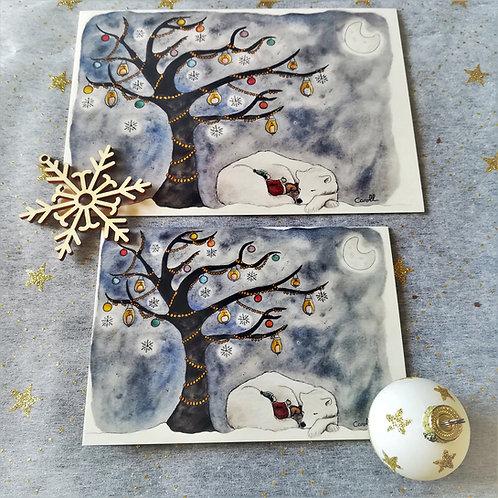"""Carte de vœux """"Ours"""" à l'unité - L'arbre de lumière"""