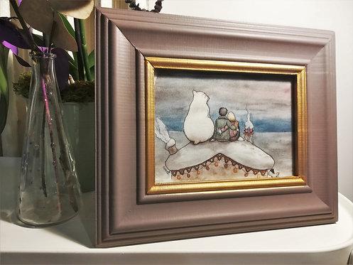 """Cadre carte aquarelle """"Sur le toit"""" A5"""