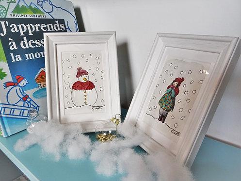 Duo d'aquarelles originales encadrées - Sous la neige 2