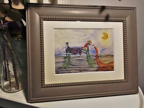 """Cadre carte aquarelle """"Un monstre sous le lit"""" A5"""