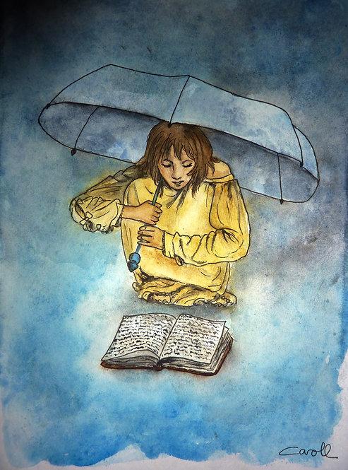 Reproduction aquarelle - Sous le parapluie