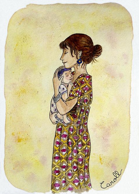 Carte de naissance aquarelle - La tendresse d'une mère