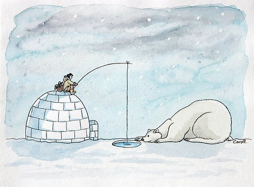 Reproduction aquarelle - Le pêcheur et l'ours