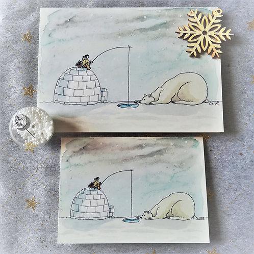 """Carte de vœux """"Ours"""" à l'unité - Le pêcheur et l'ours"""