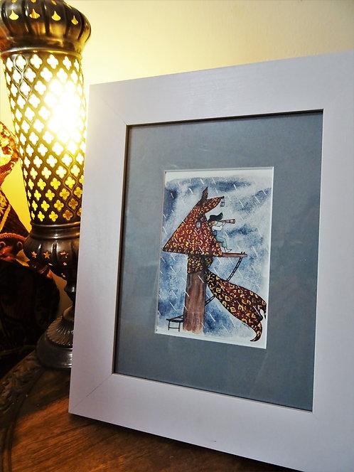 """Cadre carte aquarelle """"Dans le nid-de-pie"""" A6"""