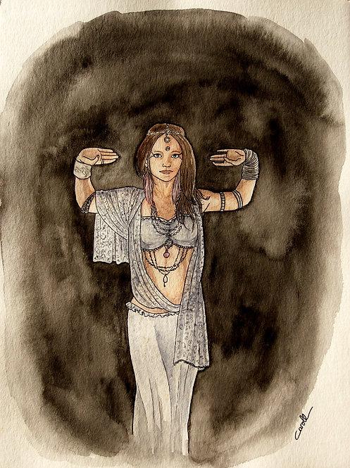 Reproduction aquarelle - La danseuse orientale