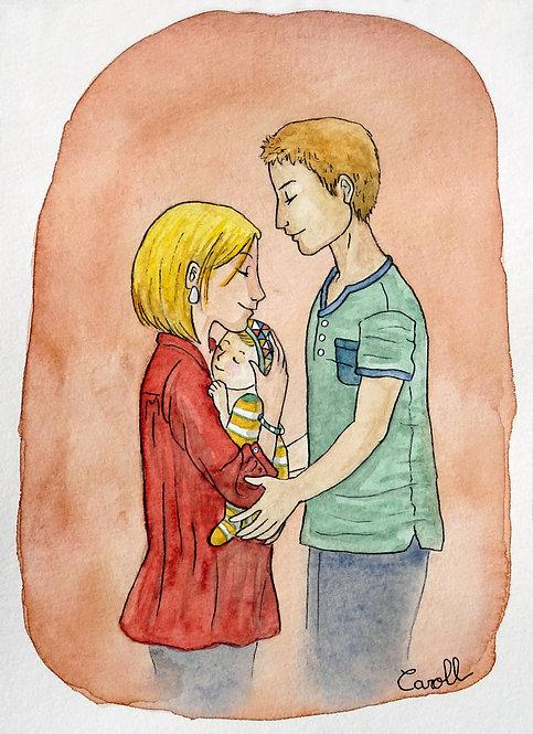 Carte de naissance aquarelle - La tendresse des parents