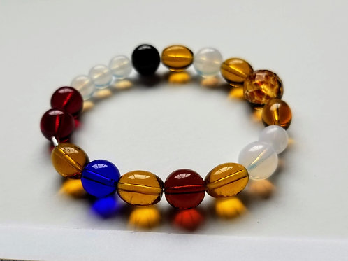 Multicolor glass Pearls of Life bracelet