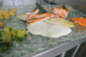 Filet de bar aux langoustines et son écume de champignons