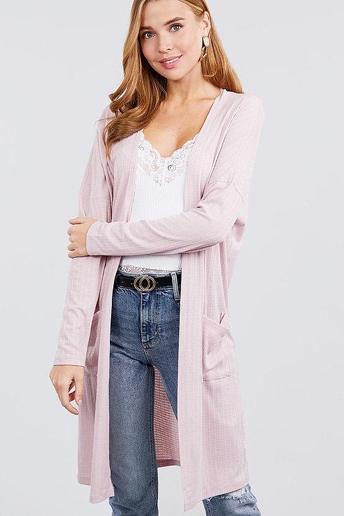 Pink - Long Sleeve Rib Cardigan w/ Pockets