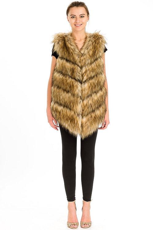 7061 Victoria Long Faux Fur Vest