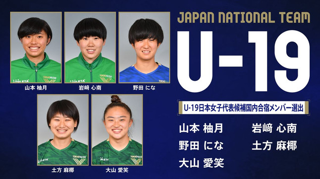 2021.06.17|U-19日本女子代表候補トレーニングキャンプメンバーに日テレ・東京ヴェルディベレーザと日テレ・東京ヴェルディメニーナから5選手が選出