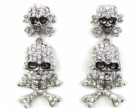 Double Skull Face Earrings