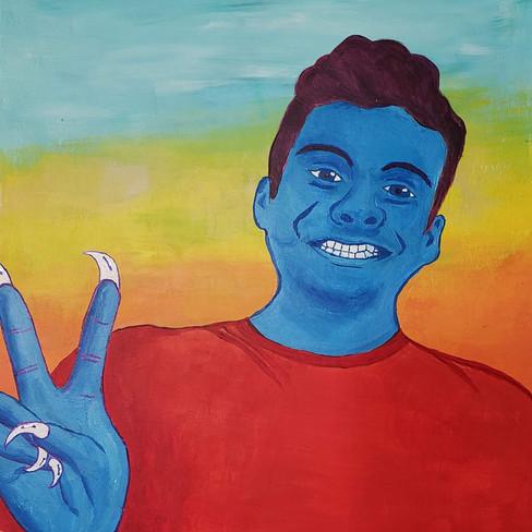 Pedro Aguirre, Self-Portrait, Acrylics