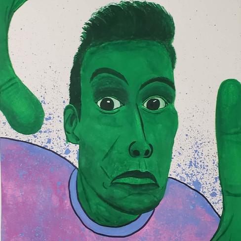 Pedro Aguirre, Self Portrait, Watercolour