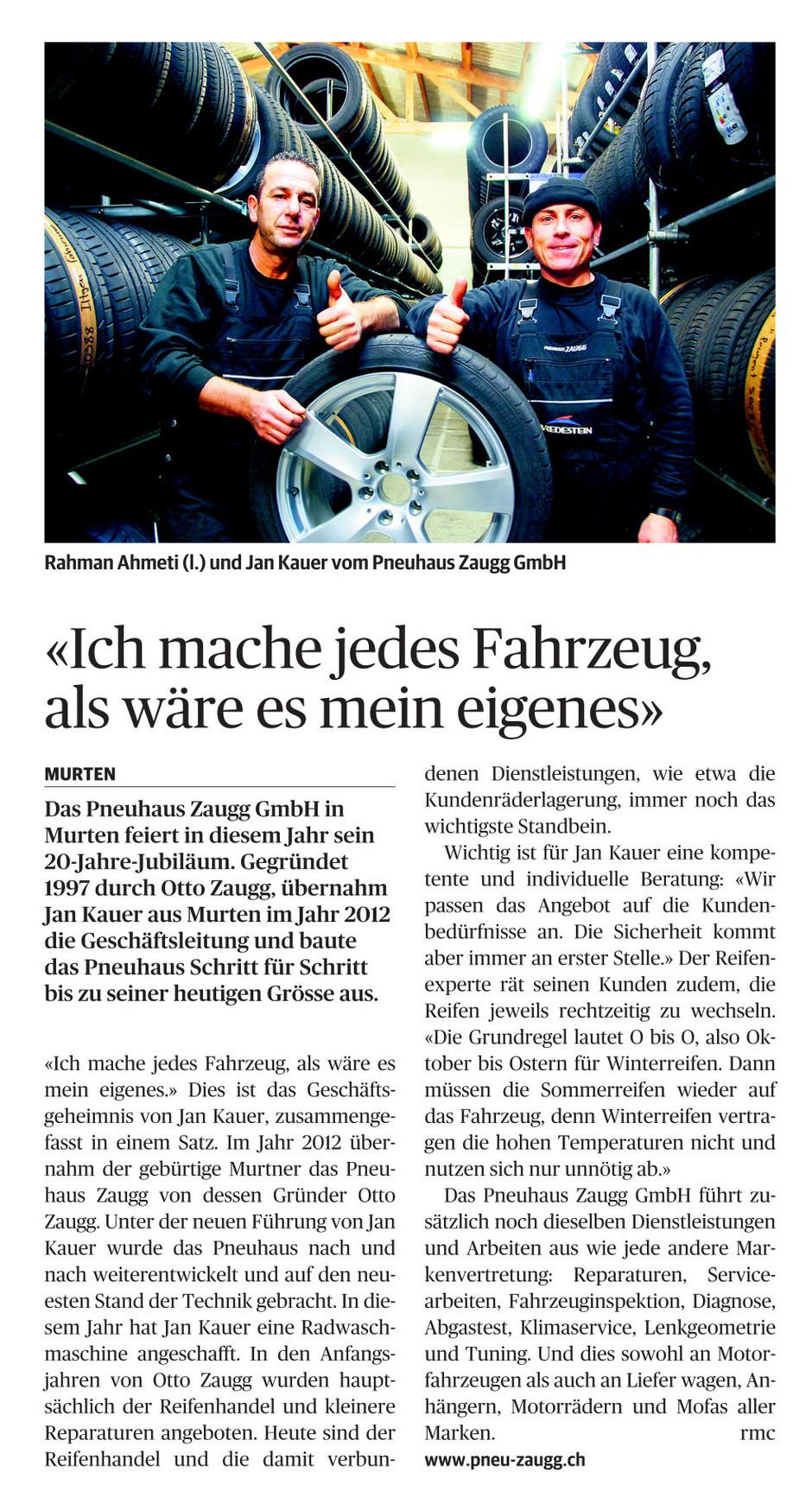 Das Pneuhaus Zaugg GmbH in Murten feiert in diesem Jahr sein 20-Jahre-Jubiläum.