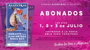 ALGECIRAS   Entradas a la venta para abonados los días 1, 2 y 3 de julio