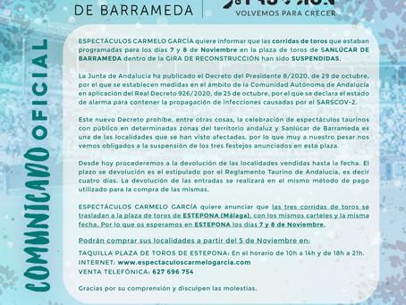 COMUNICADO OFICIAL Gira de Reconstrucción Sanlúcar de Barrameda 2020