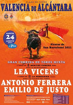 GRAN CORRIDA DE TOROS MIXTA EN VALENCIA DE ALCANTARA - 24 AGOSTO 2021